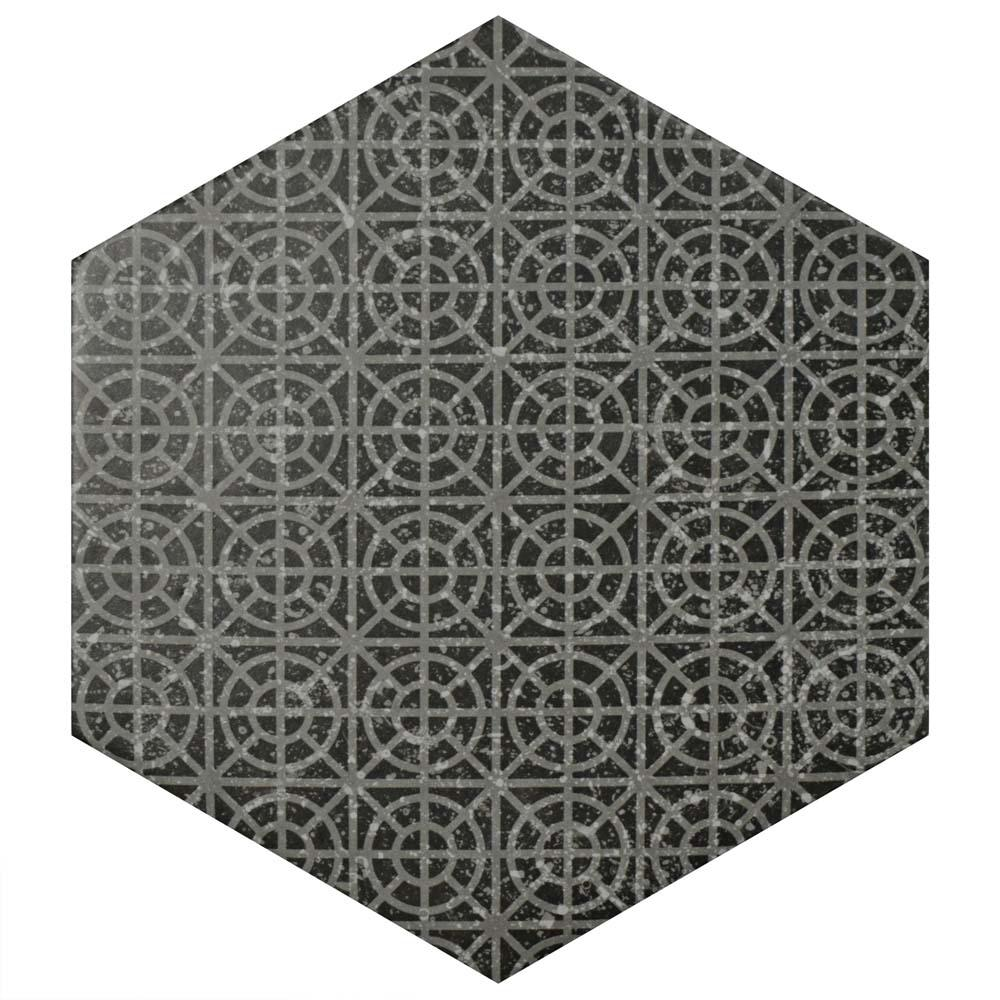 Merola Tile Cstone Hexagon Melange Black 10 In X 11 1 2