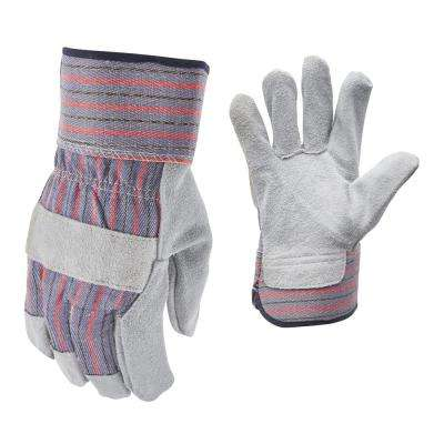 Leather-Palm Large Gloves (3-Pairs)