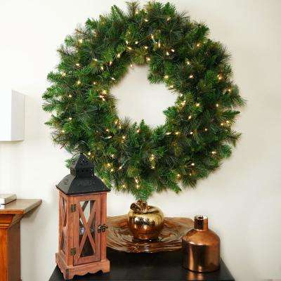 36 in. Pre-Lit Canyon Pine Artificial Christmas Wreath
