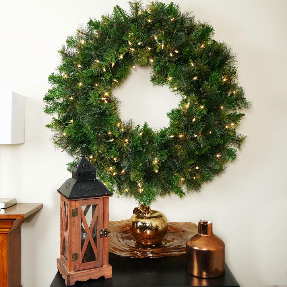 Prelit Christmas Wreath.36 In Pre Lit Canyon Pine Artificial Christmas Wreath