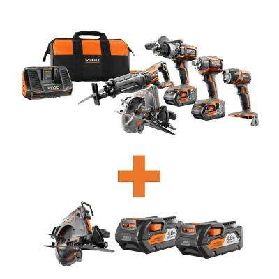 18-Volt Lithium-Ion Cordless 5-Tool Combo w/Bonus OCTANE Brushless Circular Saw & (2) 4.0Ah Battery Packs