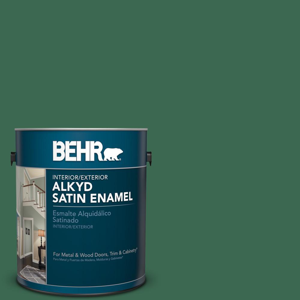 1 gal. #M410-7 Perennial Green Satin Enamel Alkyd Interior/Exterior Paint