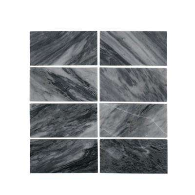 Bardiglio 3 in. x 6 in. Polished Marble Wall Tile (8-Piece 1 Sq. Ft./pack)