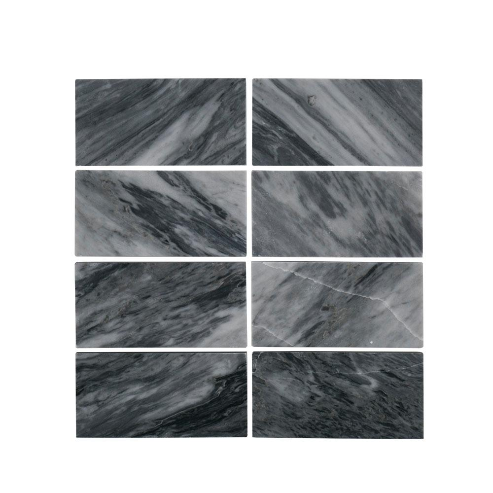 Bardiglio 3 in. x 6 in. Polished Marble Wall Tile (8-Piece