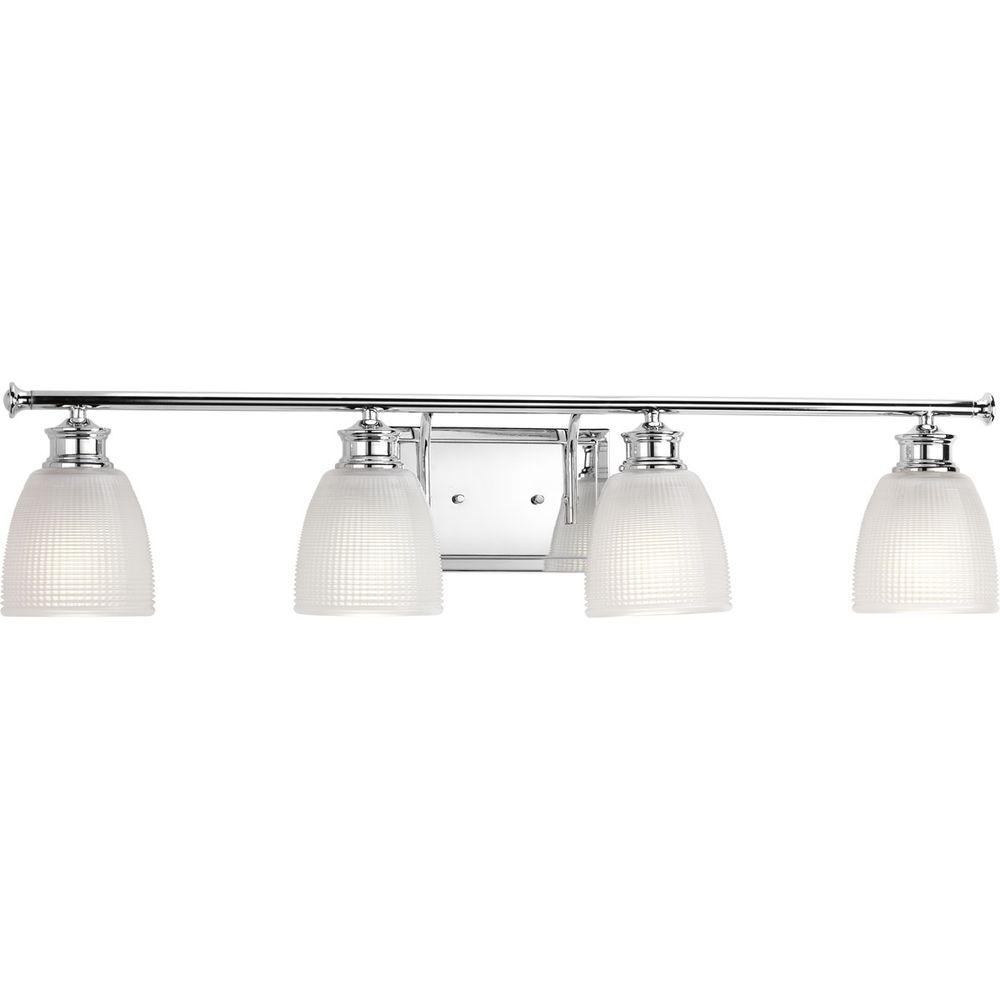 Vanity Lights For Bathroom Progress Lighting Lucky Collection 33.56 In. 4-light Polished Chrome Bathroom  Vanity Light With
