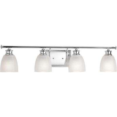 Lucky Collection 33.56 in. 4-Light Polished Chrome Vanity Light with Clear Double Prismatic Glass Shades