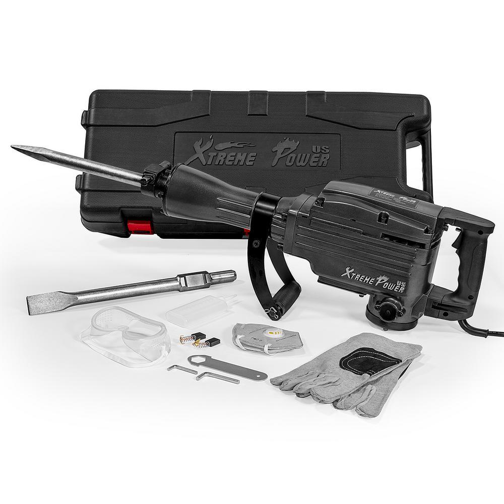 2200-Watt Heavy-Duty Electric Jackhammer Demolition Hammer Concrete Breaker Tool Kit