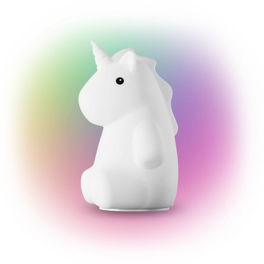 Globe Electric Rylie Unicorn White LED Integrated Multi-Color Changing Rechargeable Silicone Night Light