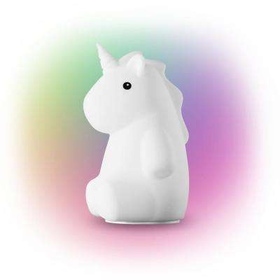 Rylie Unicorn White LED Integrated Multi-Color Changing Rechargeable Silicone Night Light