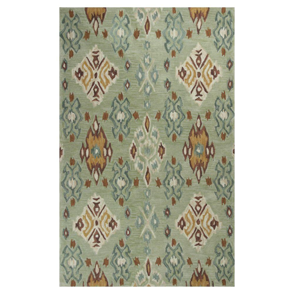 Kas Rugs Touch of Ikat Green/Cream 3 ft. 3 in. x 5 ft. 3 in. Area Rug
