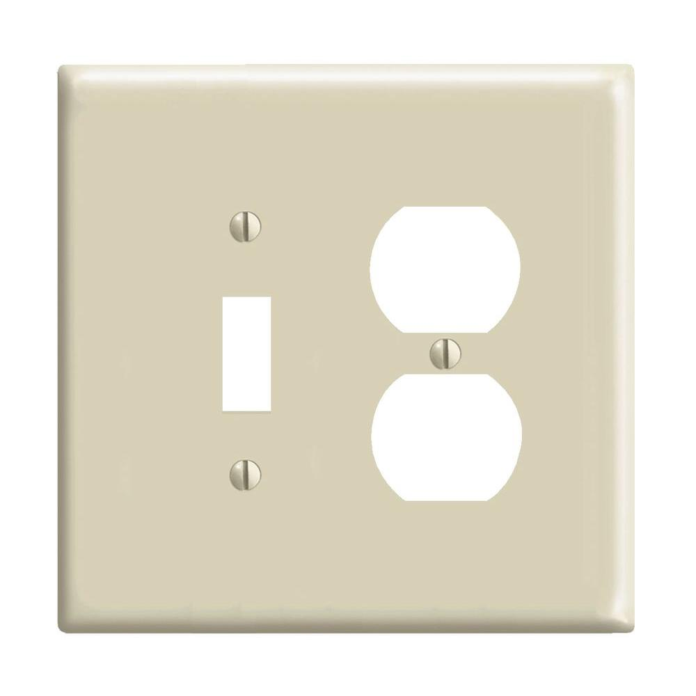 LEVITON 2-Gang Midway 1-Toggle 1-Duplex Combination Nylon Wall Plate, Ivory