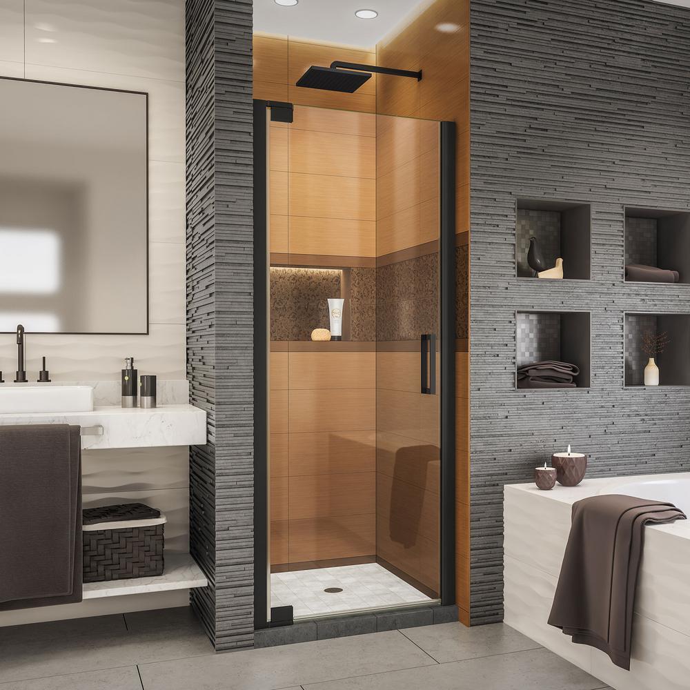 Elegance-LS 27 in. to 29 in. W x 72 in. H Frameless Pivot Shower Door in Satin Black