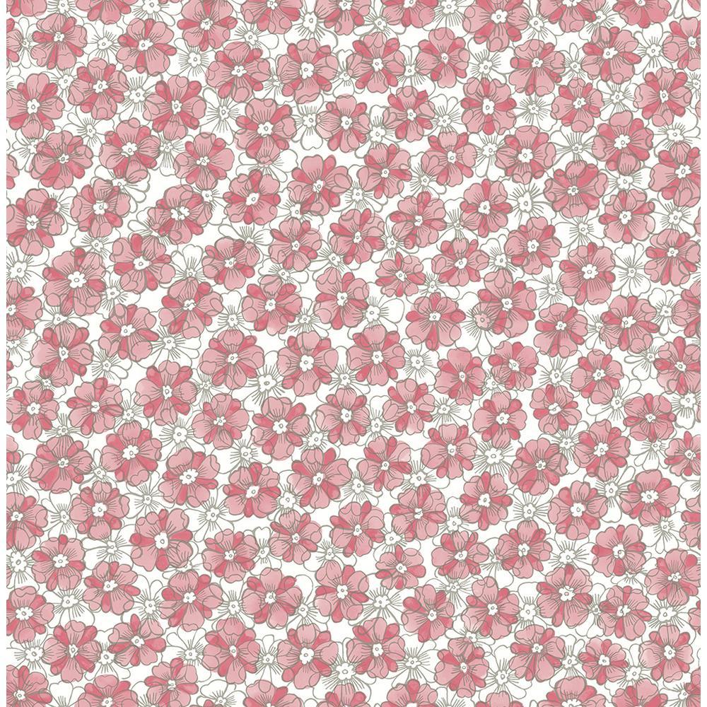 A-Street Allison Pink Floral Wallpaper Sample 2657-22225SAM