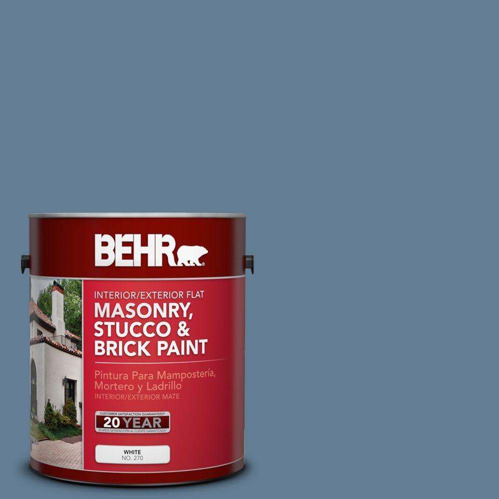 1-gal. #MS-78 Bleached Denim Flat Interior/Exterior Masonry, Stucco and Brick Paint