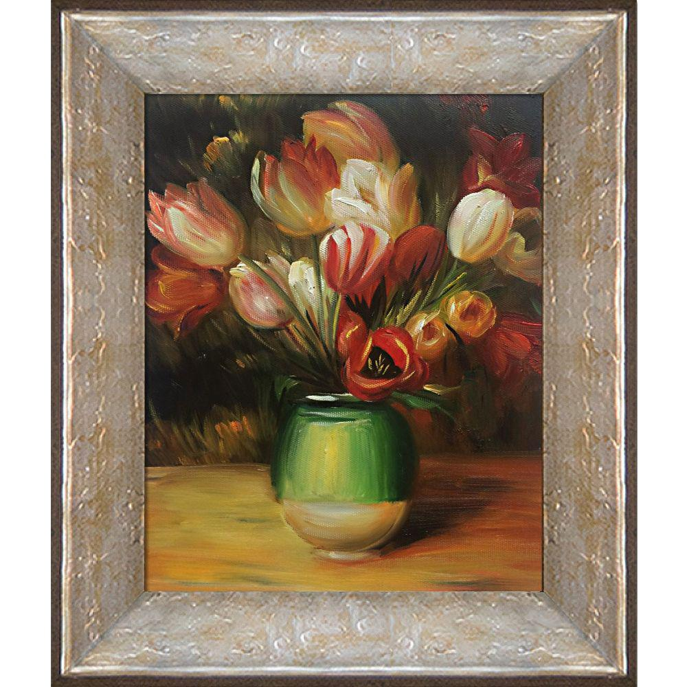 LA PASTICHE Tulips in a Vase with Silver Luna Frameby Pierre-Auguste Renoir Oil Painting, Multi-Colored was $729.0 now $271.9 (63.0% off)
