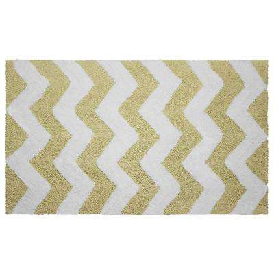 Reversible Cotton Soft Zigzag Banana 21 in. x 34 in. Bath Mat
