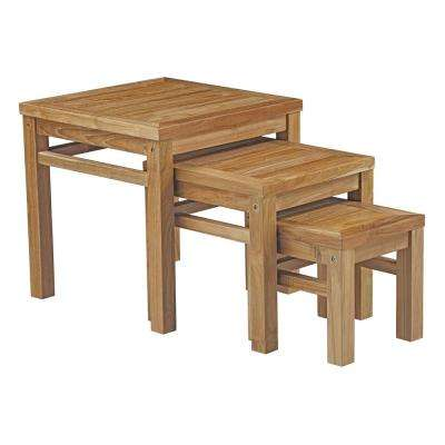 Marina Patio Teak Outdoor Side Table in Natural