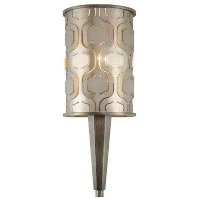 Iconic 1-Light Champagne Mist Wall Sconce with Recycled Steel Shade