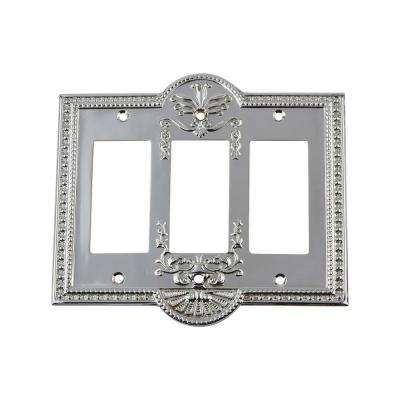 Meadows Switch Plate with Triple Rocker in Bright Chrome