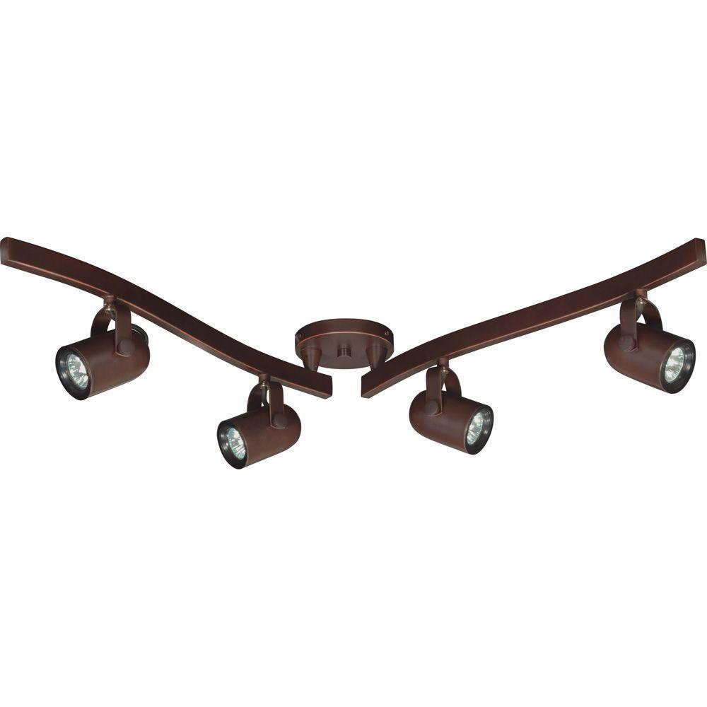 Glomar 4-Light MR16 Halogen Russet Bronze Swivel Track Lighting Kit