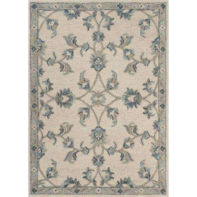 Victorian Ivory / Blue 5 ft. x 7 ft. Mirroring Floral Bloom Area Rug