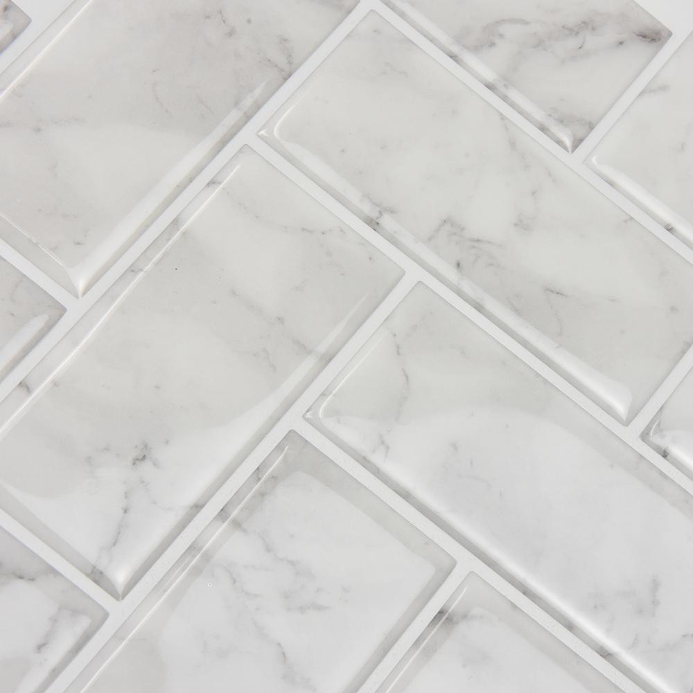 Wall Pops White Herringbone Carrara Peel Stick Backsplash Tiles Nh2358 The Home Depot