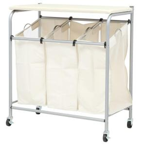 honey can do rolling laundry sorter with ironing board srt 01196 the home depot. Black Bedroom Furniture Sets. Home Design Ideas