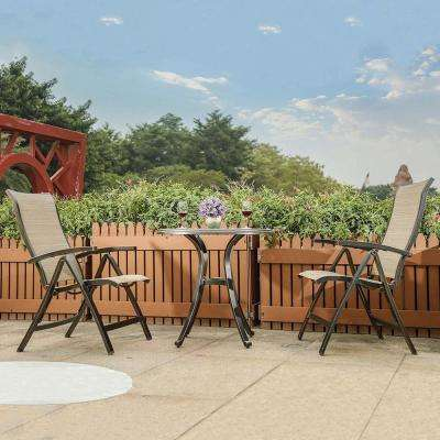 Brown 3-Piece Aluminum Folding Sling Chair and Round 28.6 in. H Table Outdoor Bistro Set