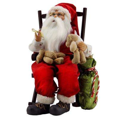 14.75 in. Animated Santa Claus in a Rocking Chair with Bears and Gift Bag