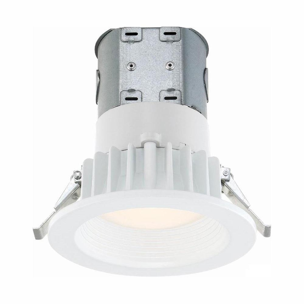 Commercial Electric Easy-Up 4 in. White Baffle Integrated LED Recessed Kit at 91 CRI, 3500K, Cool White