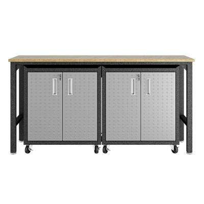Fortress 37.6 in. H x 72.4 in. W x 20.5 in. D Mobile Space-Saving Steel Garage Cabinet and Worktable in Grey (3-Piece)