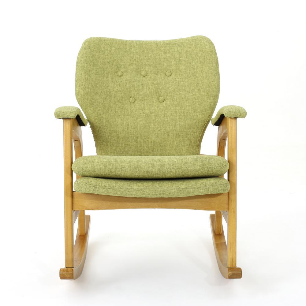 Brannt Mid-Century Modern Button Back Muted Green Fabric Rocking Chair