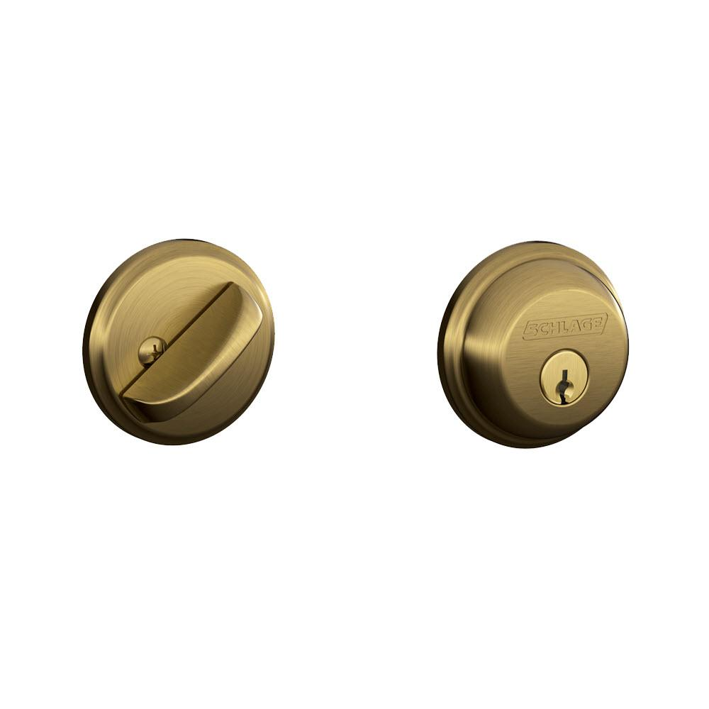 Schlage Antique Brass Single Cylinder Deadbolt B60n 609