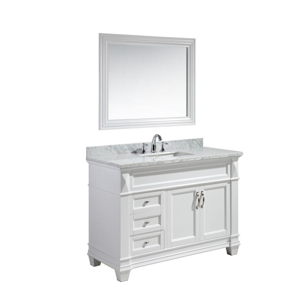 Hudson 48 in. W x 22 in. D x 34 in. H Vanity in White with Marble Vanity Top in Carrara White, Basin and Mirror