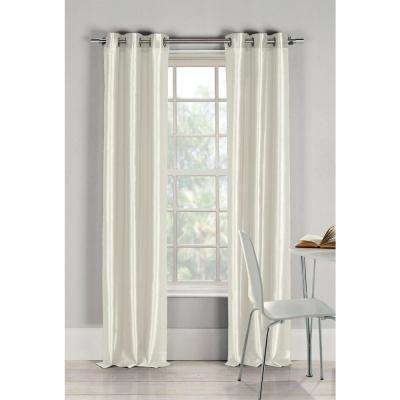Semi-Opaque Bali 84 in. L Faux Silk Panel in Champagne (2-Pack)