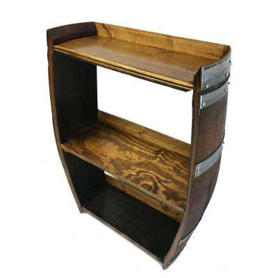 10 in. D 36 in. H 25 in. W Lacquer Wine Barrel Shelf