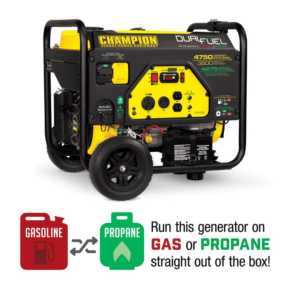 Champion Power Equipment 3,800-Watt Dual Fuel Powered Portable Generator