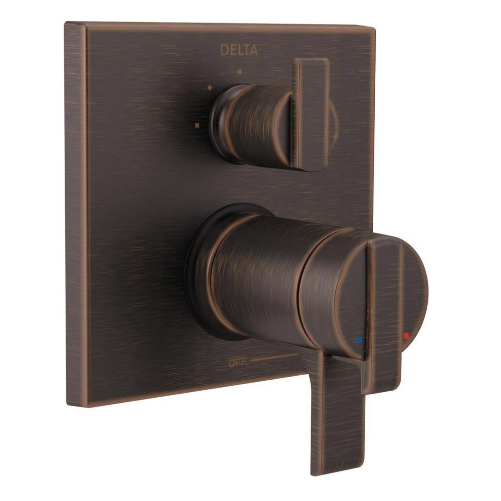 2-Handle Wall-Mount Valve Trim Kit with 3-Setting Integrated Diverter in