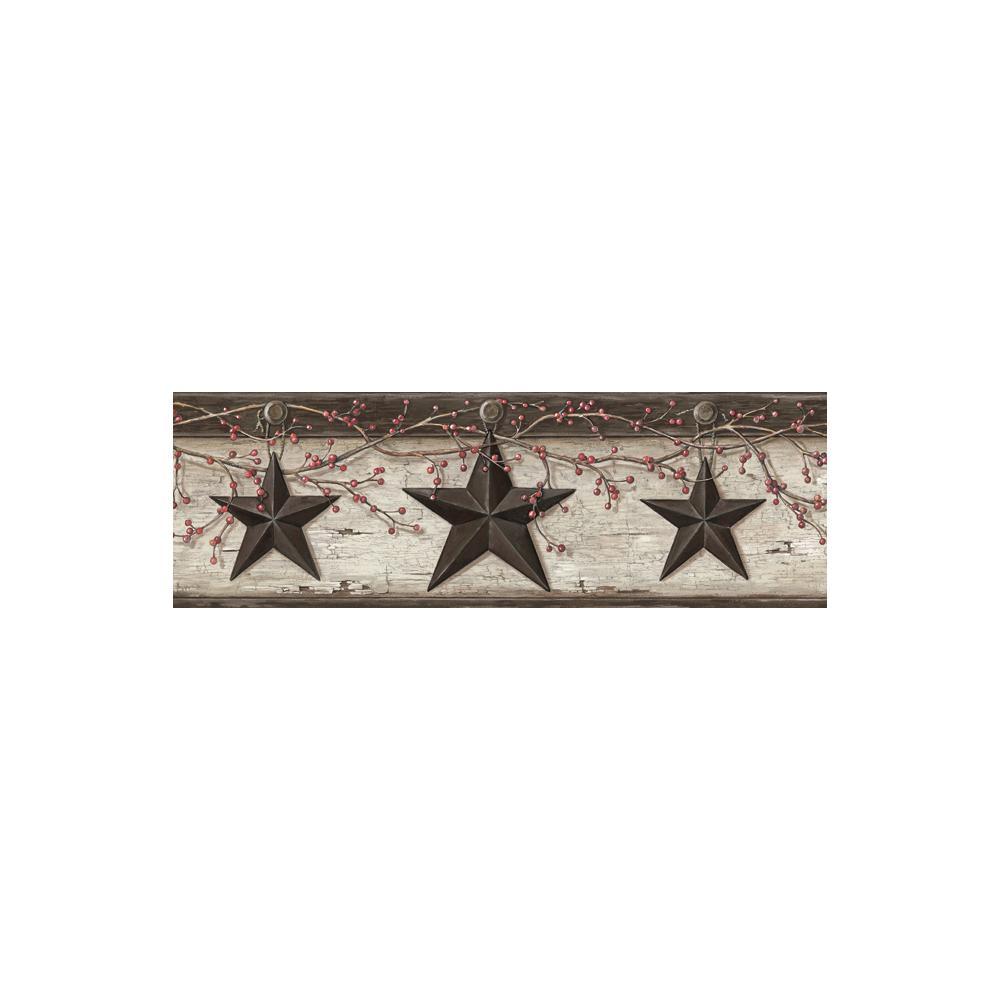 Graham Cream Rustic Star Trail Black Wallpaper Border