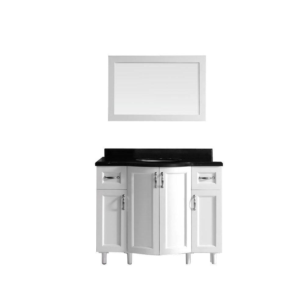 42 inch white bathroom vanity - Null Gigi 42 In Vanity In White With Granite Vanity Top In Black