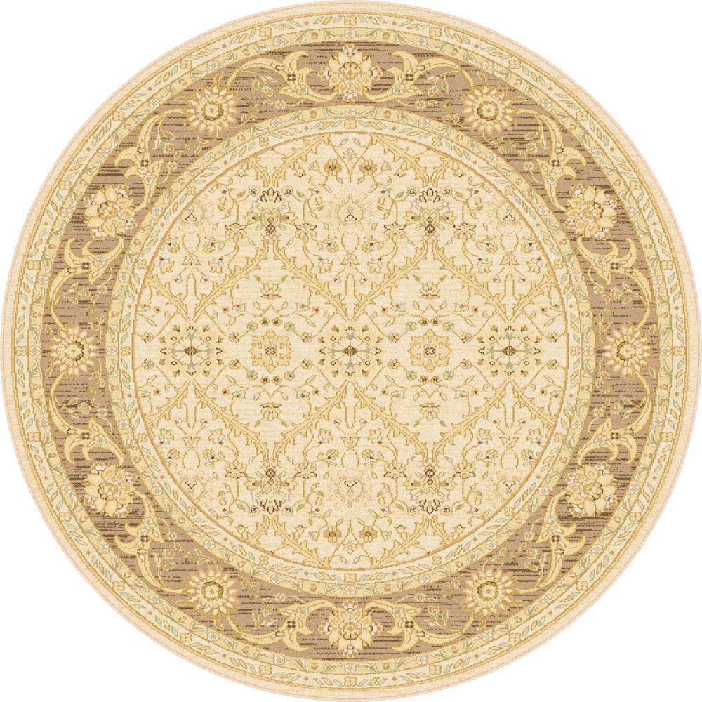 Tayse Rugs Antique Treasure Beige 5 ft. 3 in. Indoor Round Area Rug