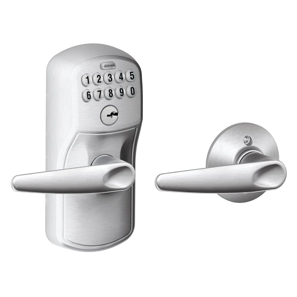 Schlage Jazz Satin Chrome Keypad Electronic Door Lever
