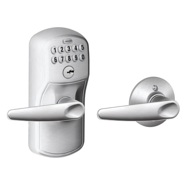 Plymouth Satin Chrome Electronic Door Lock with Jazz Door Lever