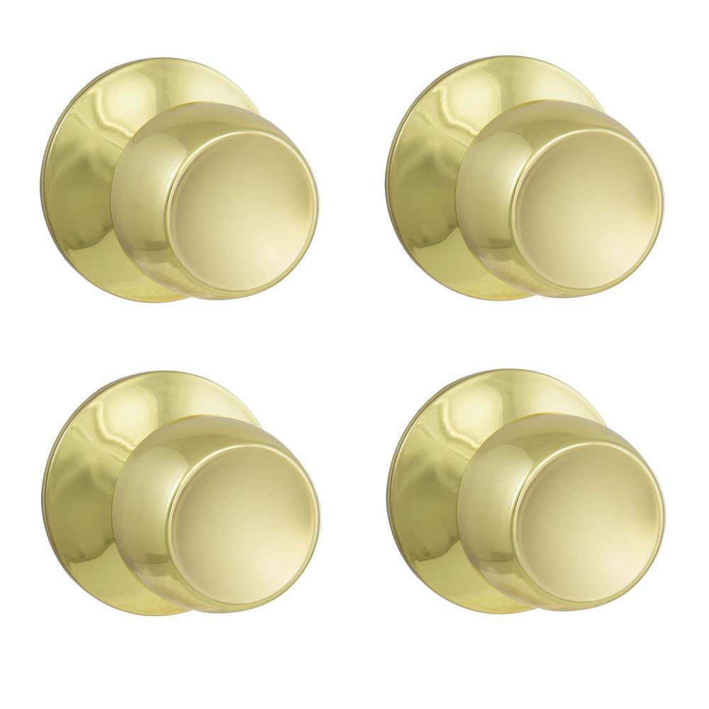 Brandywine Polished Brass Hall/Closet Door Knob Value Pack (4-Pack)
