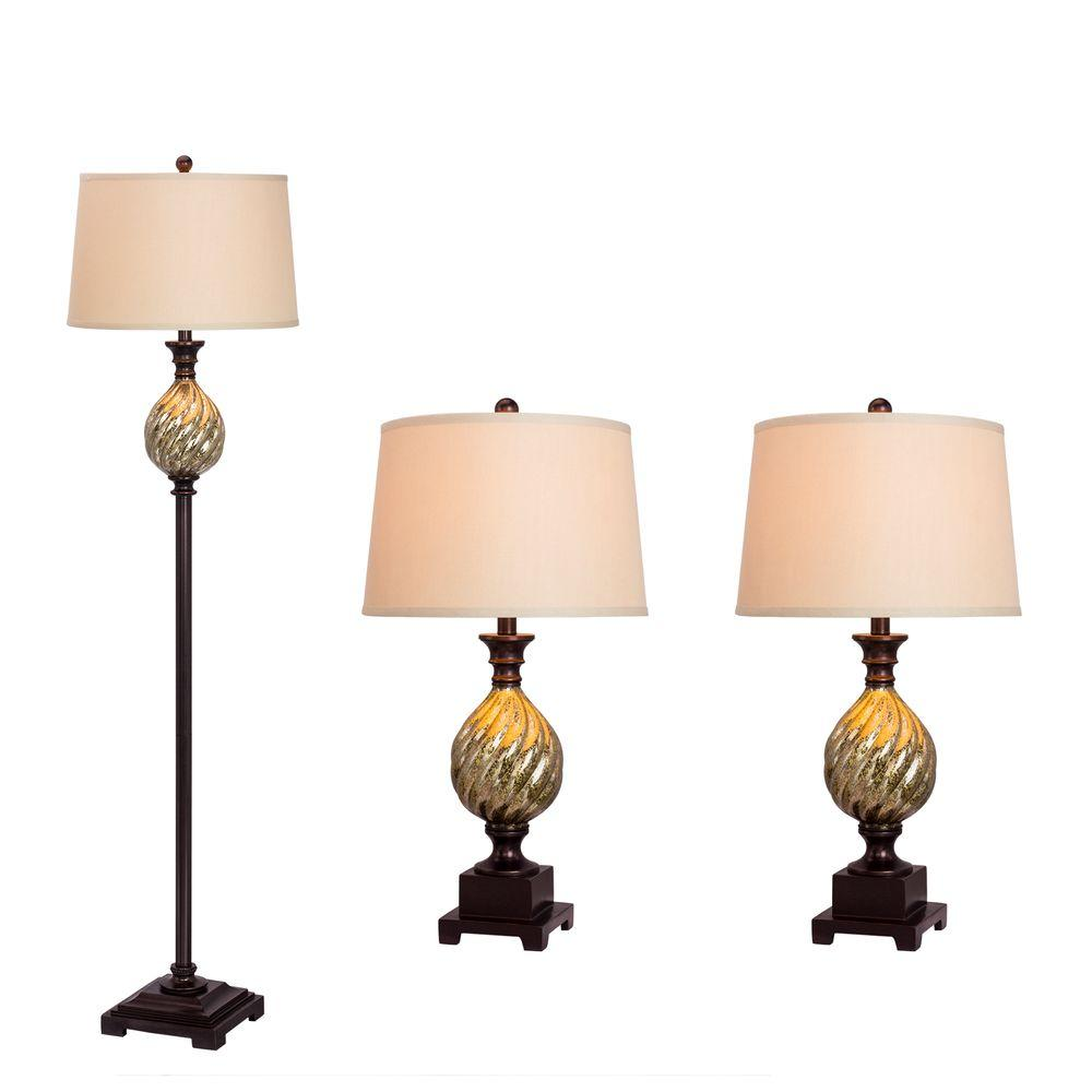 Fangio Lighting Old English Lamp Set (3-Piece)-W-5113 - The Home Depot