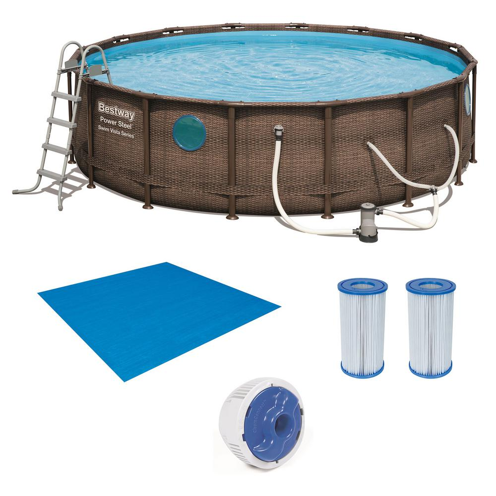 Bestway 16 ft. Round 48 in. D Power Steel Hard Side Swim Vista Swimming Pool Set with Accessories, Brown -  56726EBW258012E