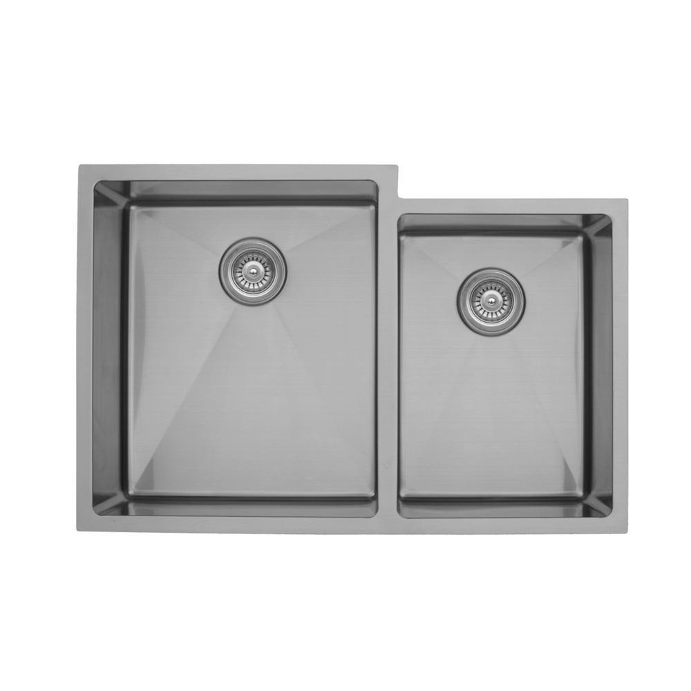 Elite Undermount Stainless Steel 33 in. 16-Gauge Double Bowl 60/40 Kitchen Sink