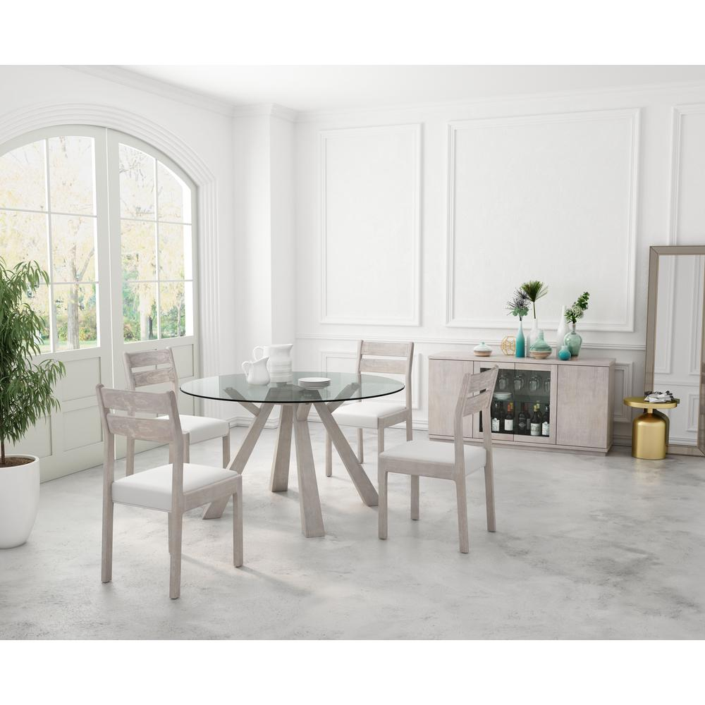 ZUO Beaumont Sun Drenched Acacia Round Glass Round Dining Table ...