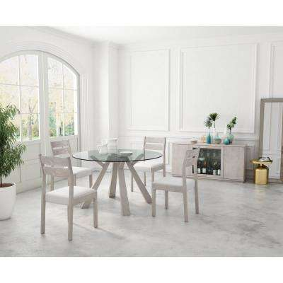 Beaumont Sun Drenched Acacia Round Glass Round Dining Table