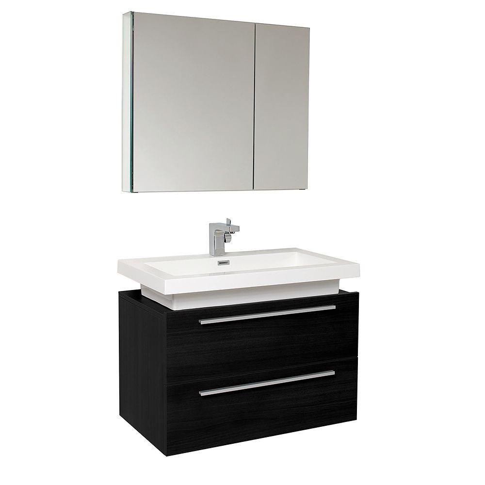 Fresca Medio 32 in. Vanity in Black with Acrylic Vanity Top in White with White Basin and Mirrored Medicine Cabinet